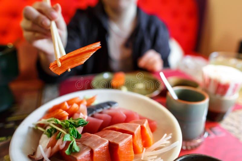 Japanese food sashimi set. In japanese restaurant royalty free stock photography