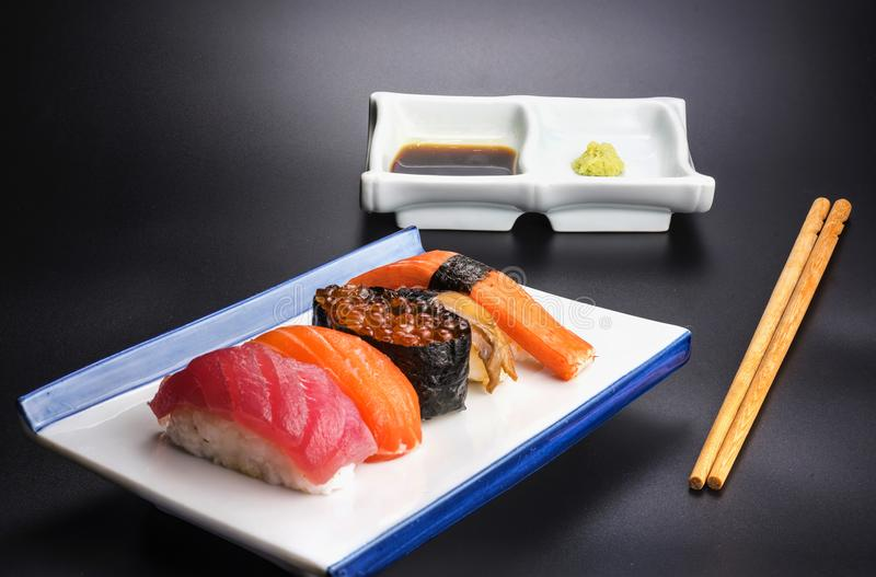 Japanese food with seafood menu royalty free stock images