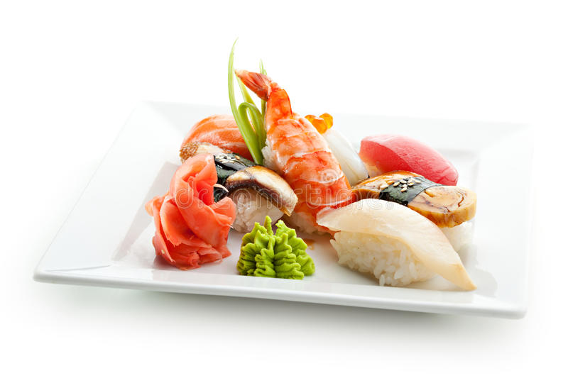Japanese Food. Seafood Plate - Sushi with Wasabi and GInger stock images