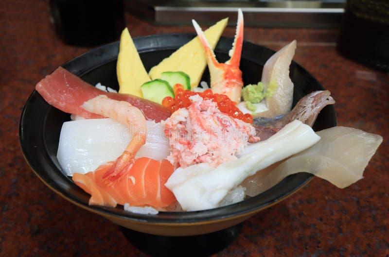 Japanese food seafood sashimi. Rice bowl stock photos