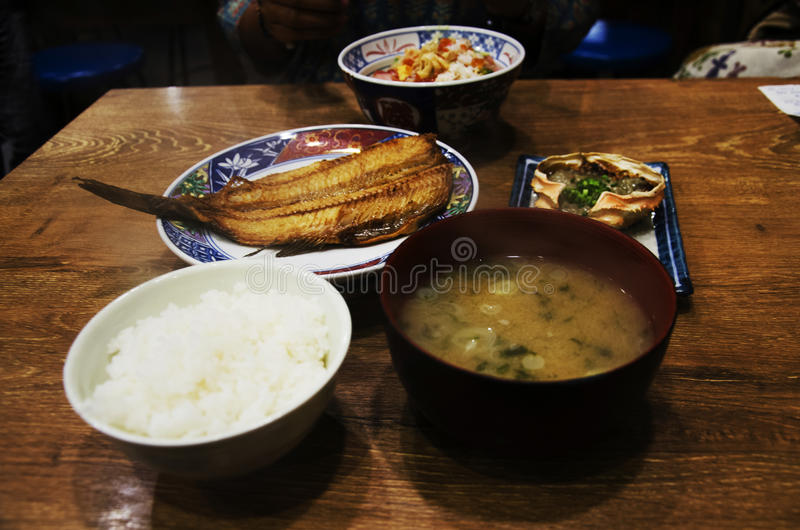 Japanese food set rice and Donburi or Don roe and tsubodai or ho royalty free stock image