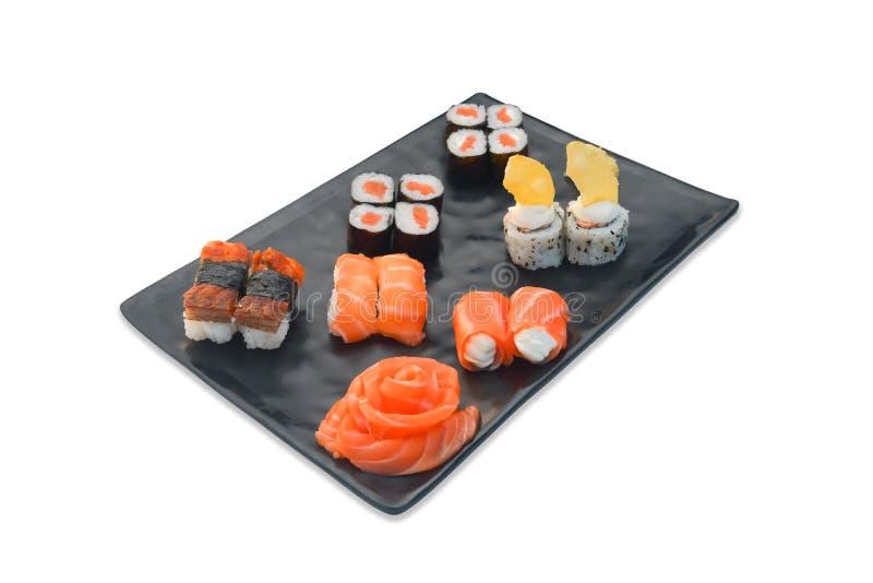 Japanese food set Sushi roll, sashimi, nigiri. Japanese food set Sushi roll, sashimi blossom, nigiri isolated on white background royalty free stock photography