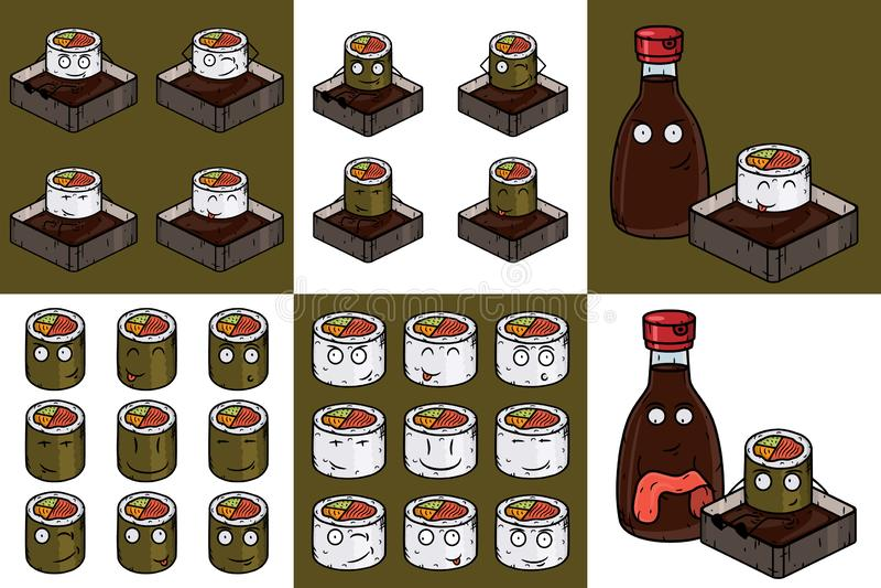 Japanese food set. Vector cartoon roll. Sushi roll comic characters. Japanese food set. Vector cartoon roll. Sushi roll comic characters stock illustration