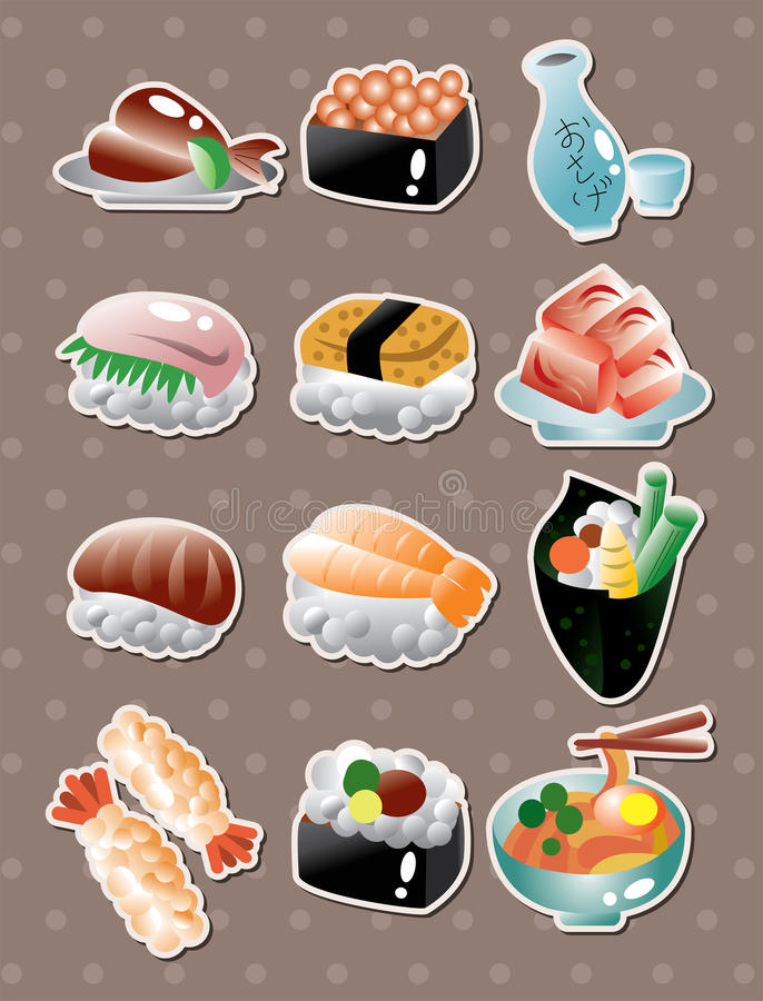 Japanese food stickers royalty free illustration
