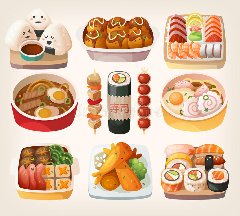 Japanese food stickers. royalty free illustration