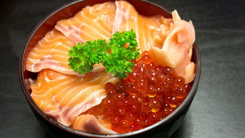 Japanese food style. Salmon sashimi and salmon roe, japanese food style royalty free stock image