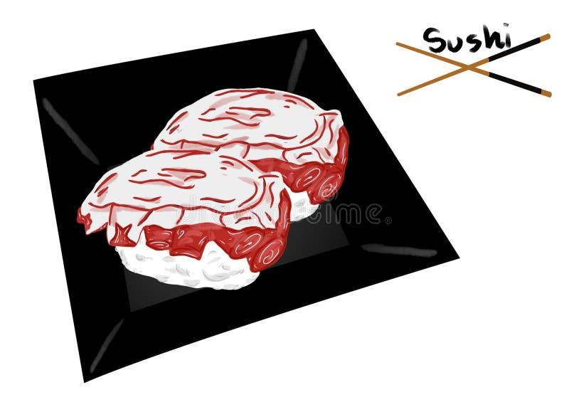 Japanese food style, Squid sushi or Tako sushi on black plate isolated royalty free illustration
