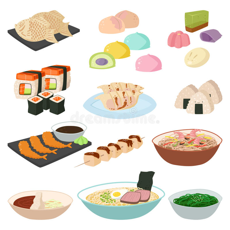 Japanese food sushi asian rice with fish traditional meal icon set and healthy seafood roll salmon cuisine gourmet. Delicious vector illustration. Restaurant vector illustration
