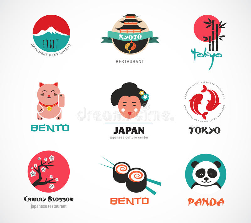 Japanese food and sushi icons, menu design. Elements royalty free illustration