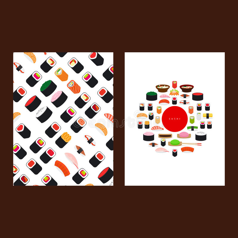 Japanese food sushi menu cover. Vector illustration royalty free illustration