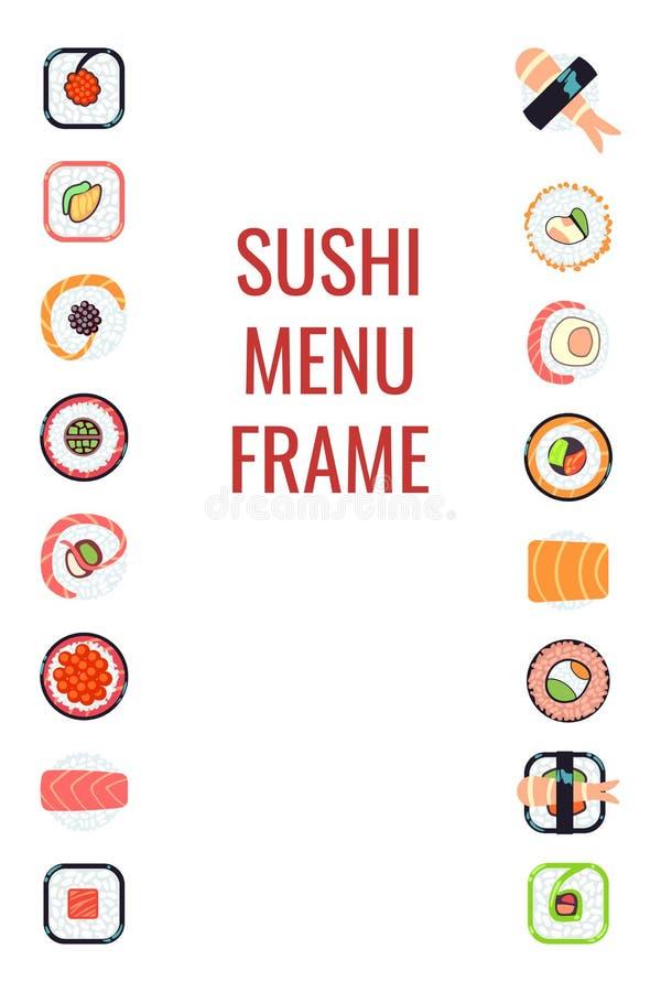 Japanese food sushi menu frame royalty free illustration