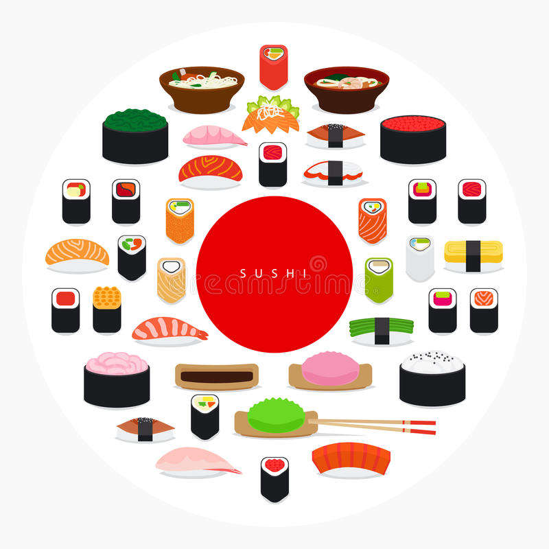 Japanese food sushi poster vector illustration