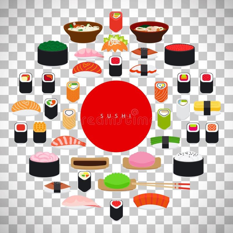 Japanese food sushi poster stock illustration
