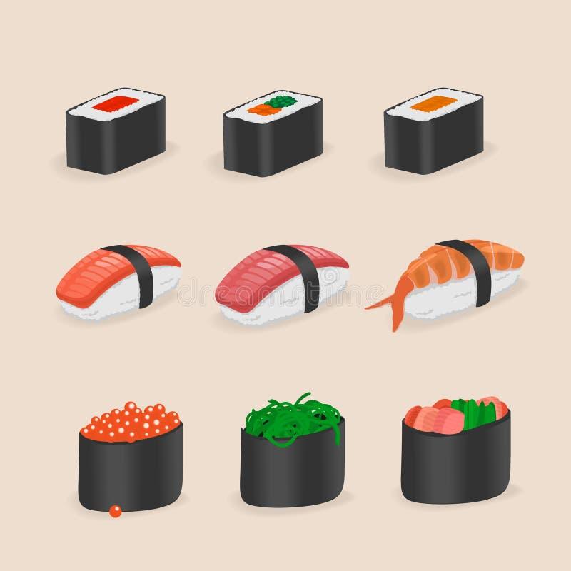 Japanese Food Sushi and rolls. Icons Japanese Food Sushi and rolls Vector Illustration vector illustration