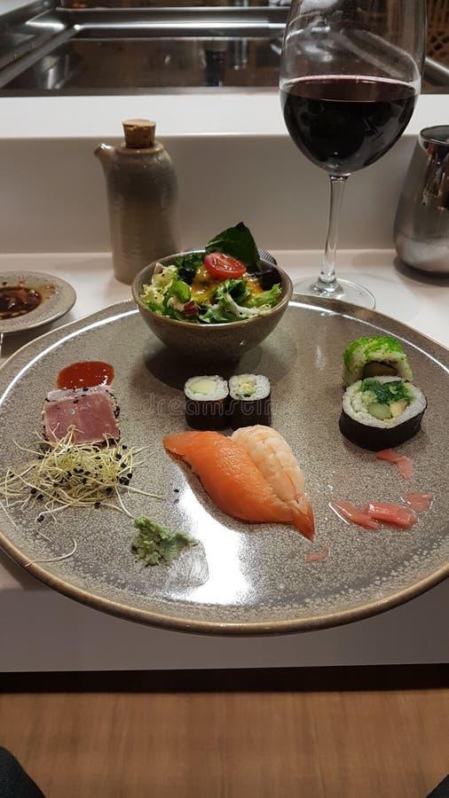 Japanese food. Sushi and sashimi plate stock image