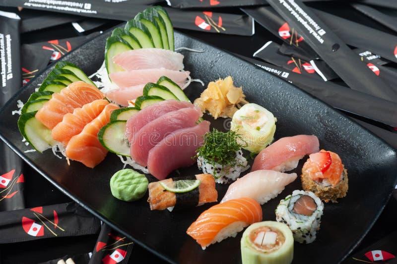 Japanese food sushi and sashimi shoyo healthy food. Japanese food sashimi and delicious sushi, special and healthy dinner royalty free stock photos