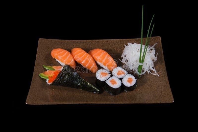 Japanese food. Japanese sushi, seafood, salmon fresh squid, salmon vegetalbe green fresh, shirmp, sashimi, fried, udon octopus rice, cake, mochi stock photography