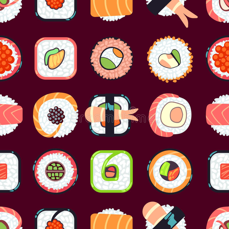Japanese food sushi vector seamless pattern vector illustration