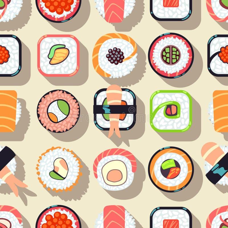 Japanese food sushi vector seamless pattern stock illustration