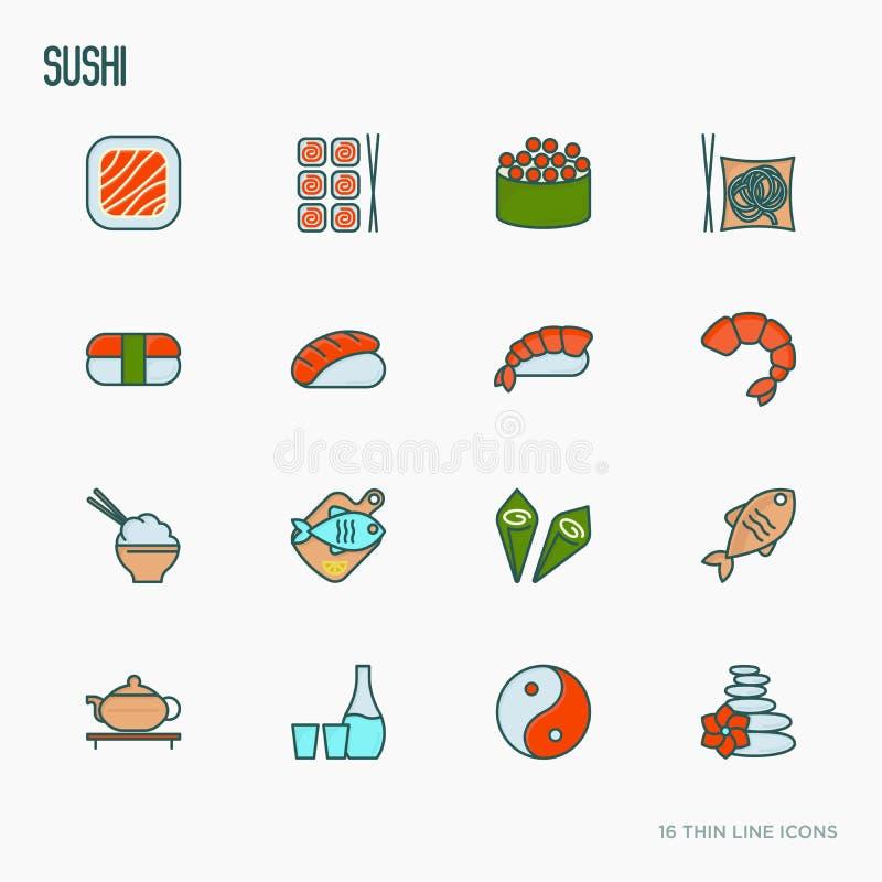Japanese food thin line icons set vector illustration
