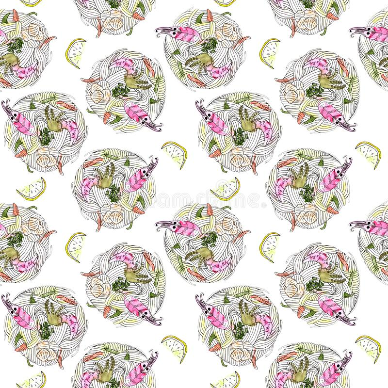 Japanese food udon noodle with seafood seamless pattern stock photo