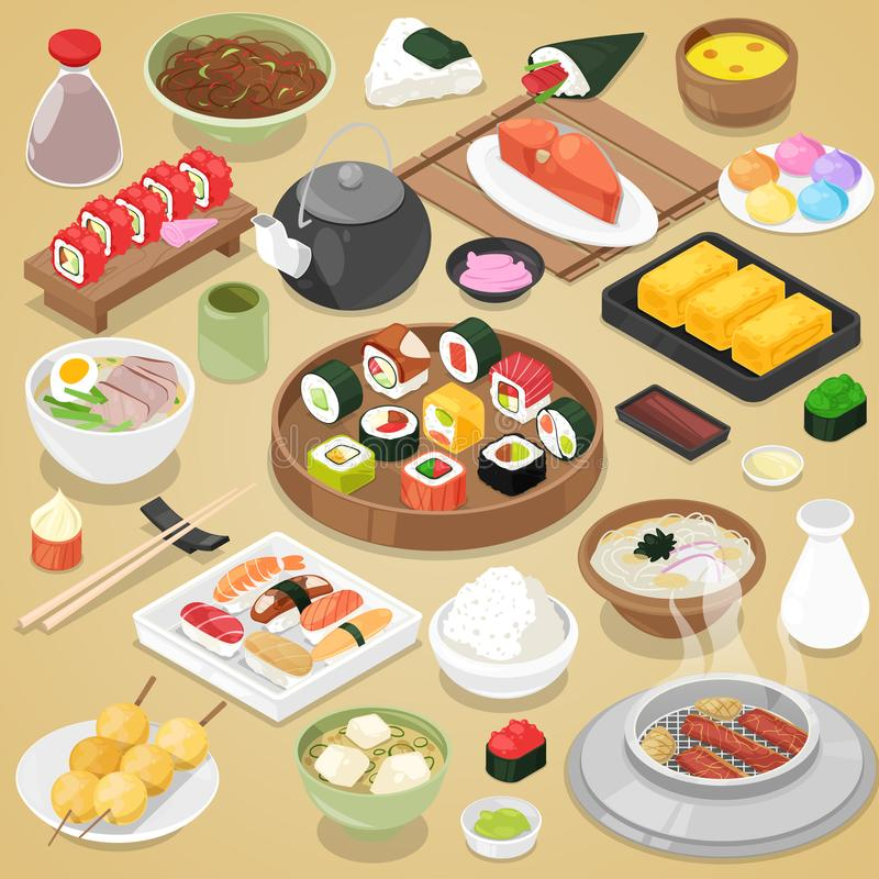 Japanese food vector eat sushi sashimi roll or nigiri and seafood with rice in Japan restaurant illustration. Japanization cuisine with chopsticks set isolated royalty free illustration