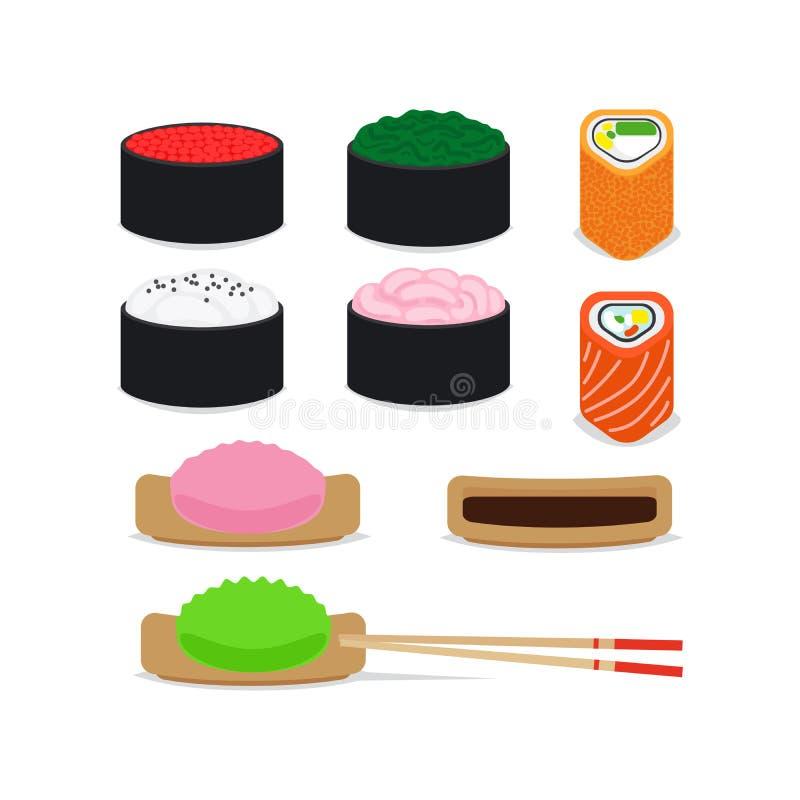 Japanese food vector icons set royalty free illustration