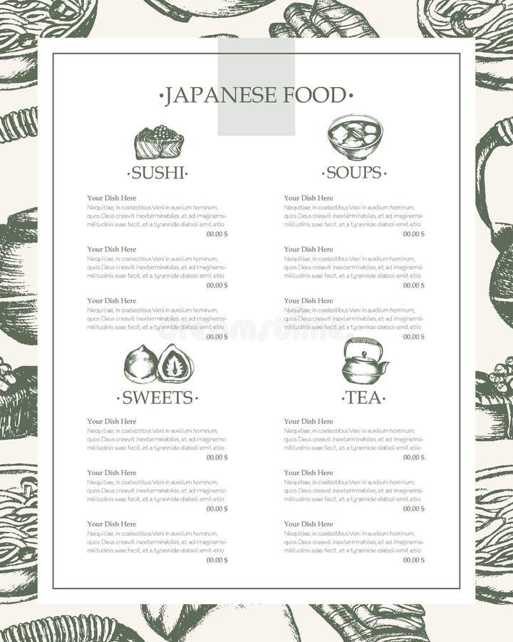 Japanese Food - vintage hand drawn template menu stock illustration