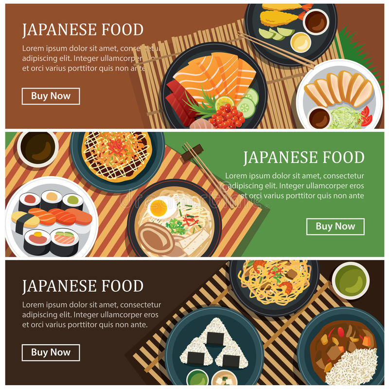 Japanese food web banner.Japanese street food coupon. vector illustration