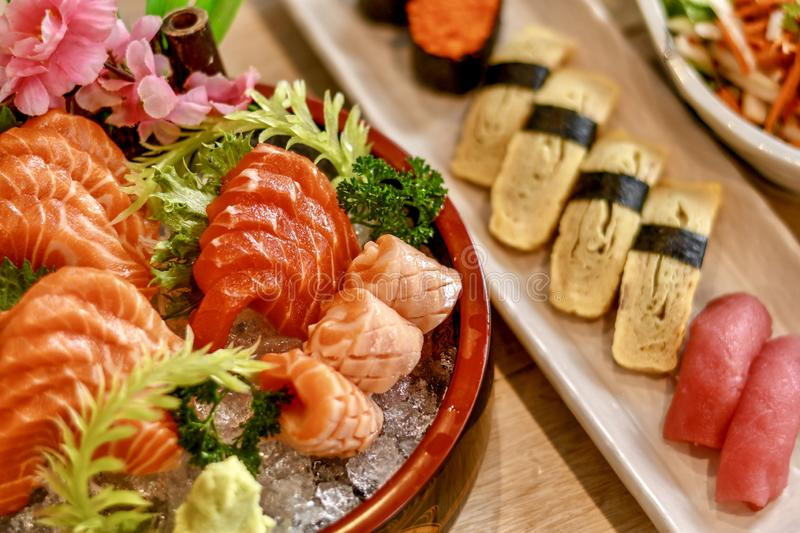 Japanese foods. The dilicious Japanese foods is sushi and sashimi stock images