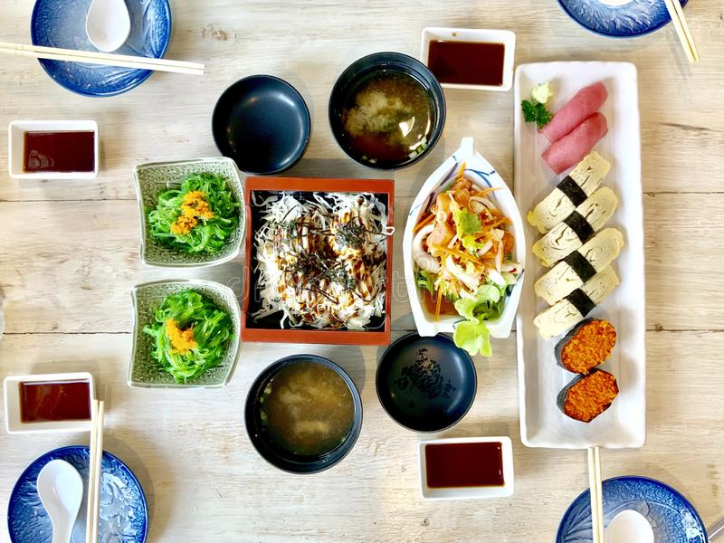 Japanese foods. The dilicious Japanese foods is sushi and sashimi stock photo