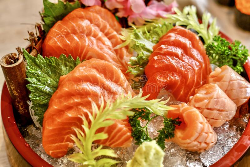 Japanese foods. The dilicious Japanese foods is sushi and sashimi royalty free stock photography