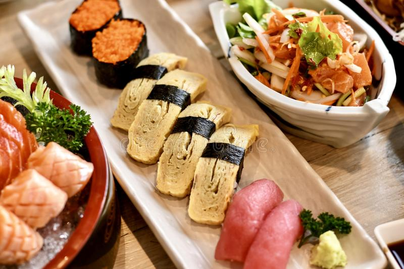 Japanese foods. The dilicious Japanese foods is sushi and sashimi royalty free stock photos