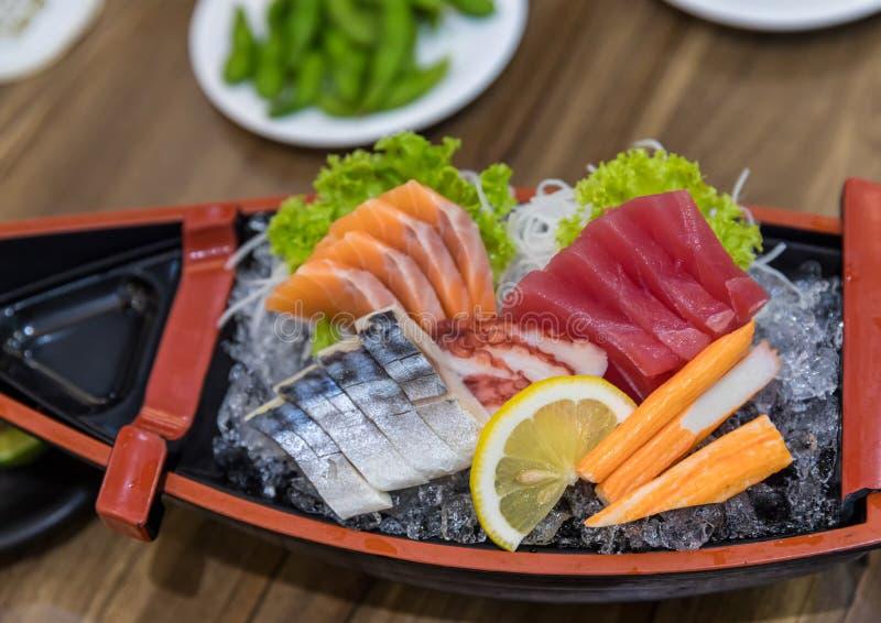 Japanese foods sashimi raw sliced fish, Japan of raw fresh fish fillet sashimi , Assorted Japanese sashimi. stock images