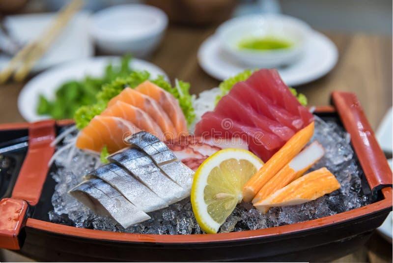 Japanese foods sashimi raw sliced fish, Japan of raw fresh fish fillet sashimi  , Assorted Japanese sashimi. stock photo