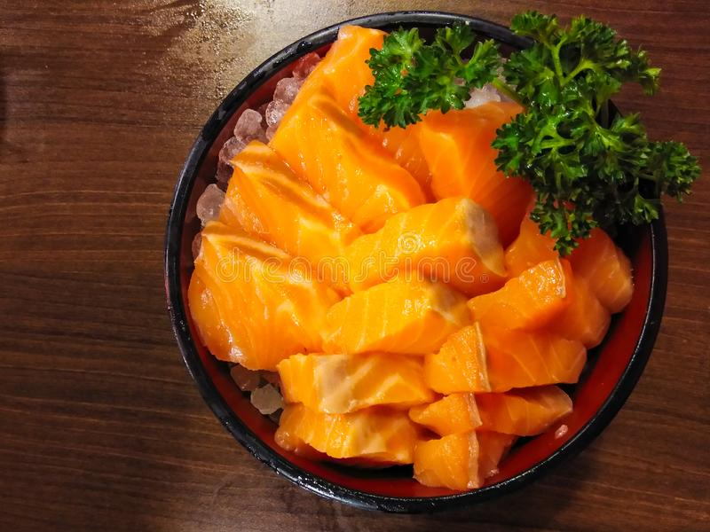 Japanese foods sashimi salmon set royalty free stock photography