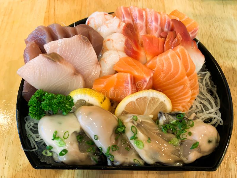 Japanese fresh seafood background royalty free stock photo