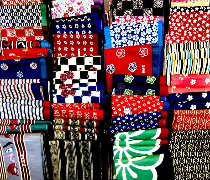 Japanese furoshiki handkerchiefs. An array of colorful Japanese furoshiki handkerchiefs royalty free stock image