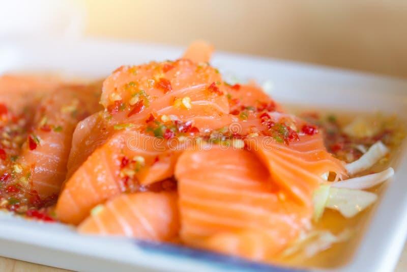 Japanese fusion food. japan fresh salmon fish seafood sashimi mix stock photo