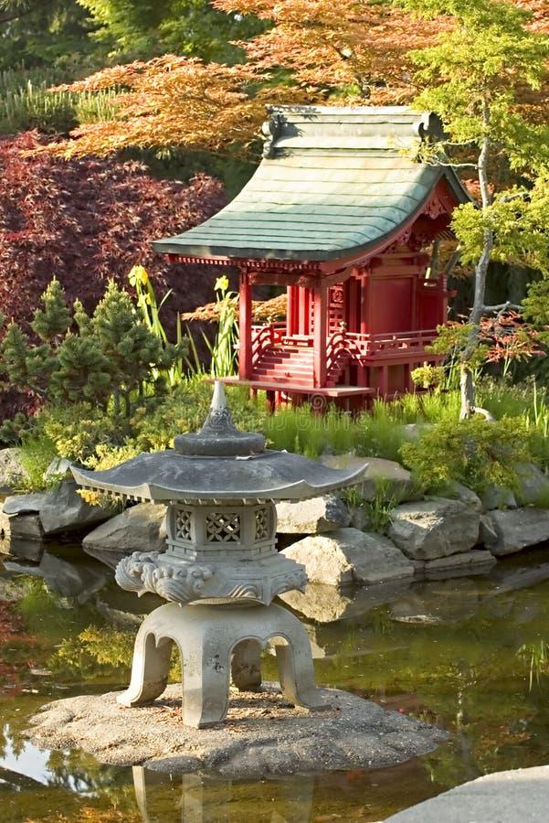 Japanese Garden. A small scale Pagoda on an island in a japanese garden stock photo