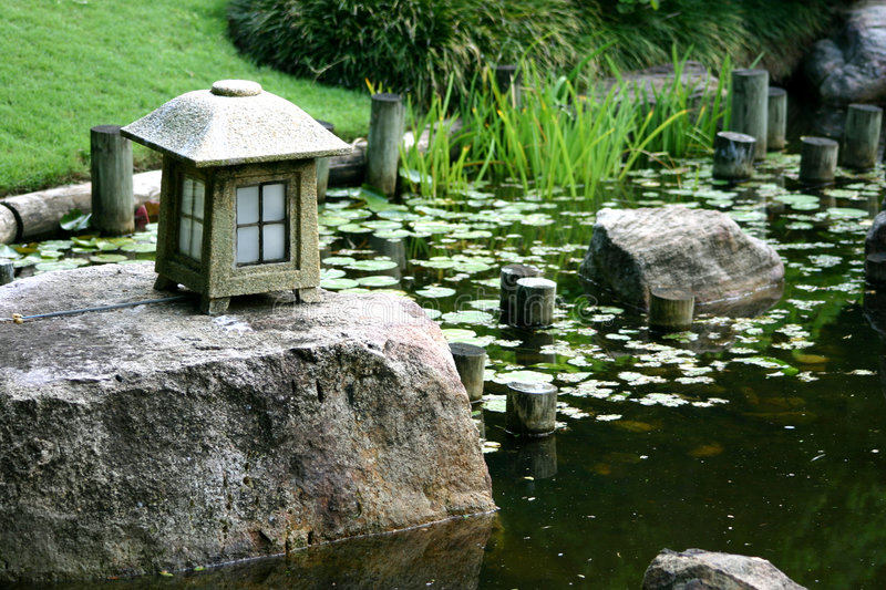 Download Japanese Garden stock photo. Image of flowers, pond, reeds - 86166