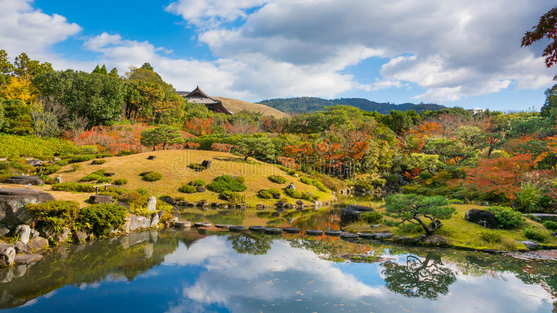 Japanese Garden Autumn Landscape stock photo