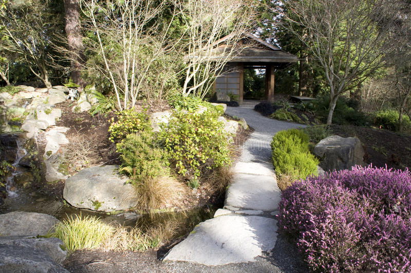 Japanese garden at Bellevue Botanical Garden stock photos