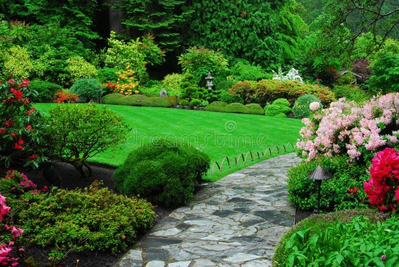 Japanese garden in butchart gardens stock photo
