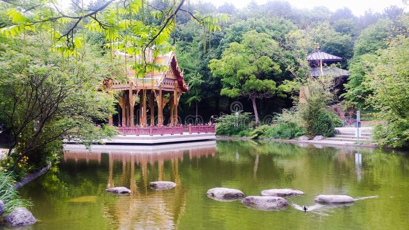 Japanese garden in Munich Germany in Bayern. Japanese garden in the City of Munich, Bayern in Germany stock image