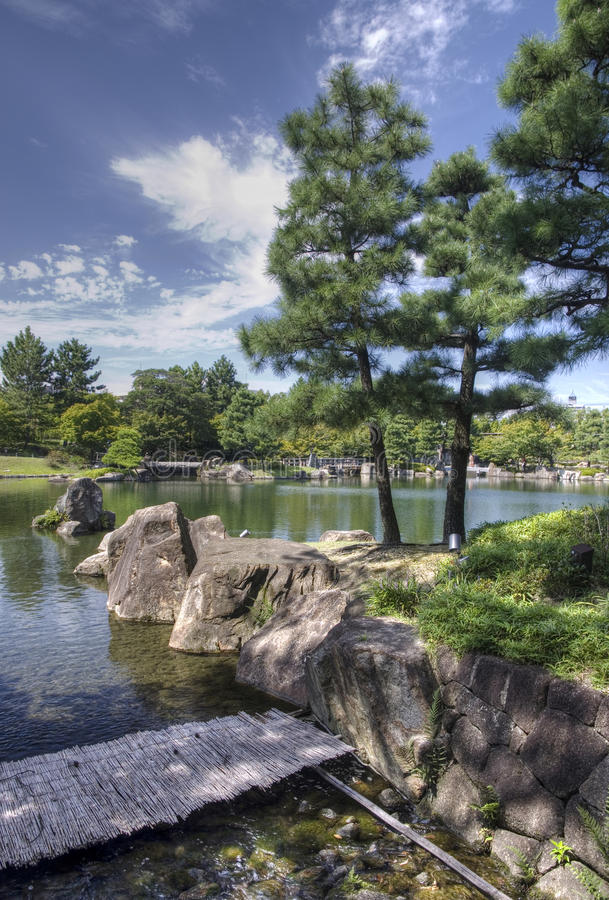 Japanese garden, Nagoya, Japan. Trees and pond in Japanese garden Tokugawaen in Nagoya, Japan stock photos