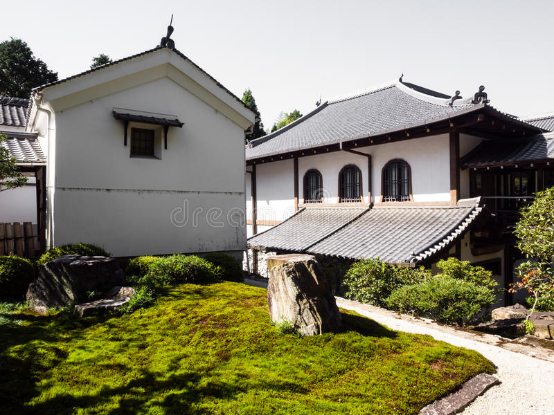Japanese garden in Nanzenji temple. Traditional Japanese houses and garden in Nanzenji temple, Kyoto royalty free stock image