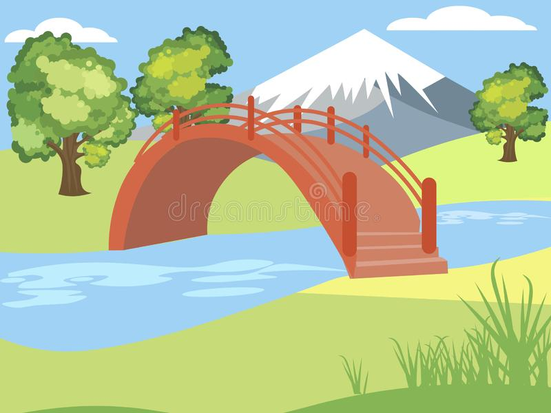 Japanese garden, nature, park. Mountain background. Bright, children drawing, color. In minimalist style. Cartoon flat stock illustration