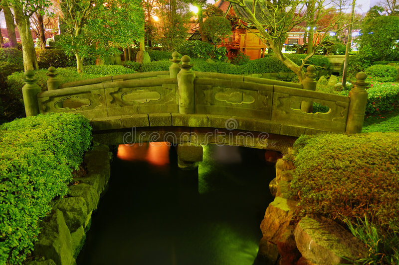 Download Japanese garden by night stock photo. Image of landscape - 5392712