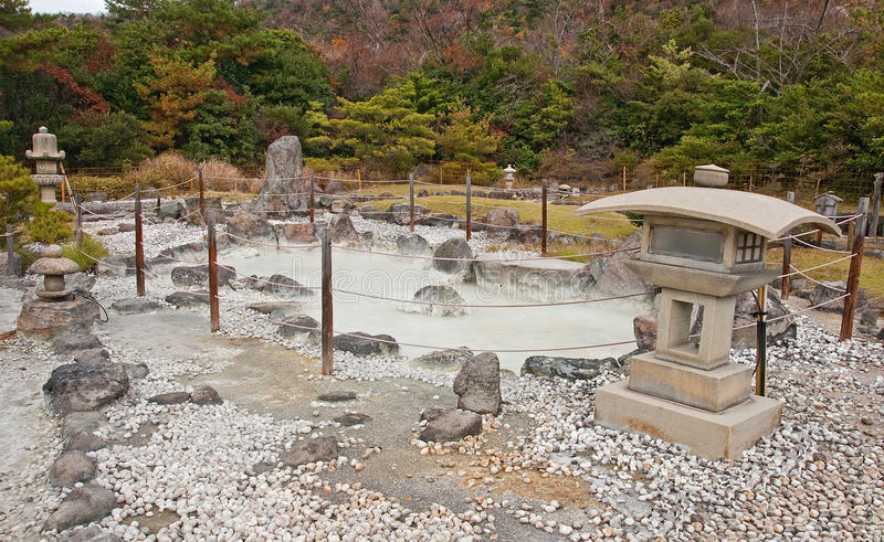 Japanese garden in the onsen (hot springs) stock images